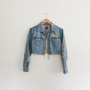 Boom Boom Jeans Cropped Distressed Denim Jacket